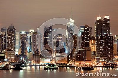 New York Manhattan at Night Editorial Image