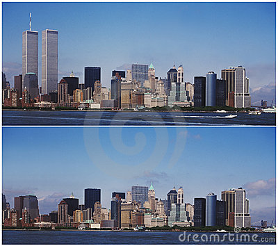NEW YORK MANHATTAN SKYLINE - BEFORE AND AFTER 9/11 (click image to zoom)
