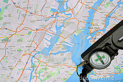 New York map and compass