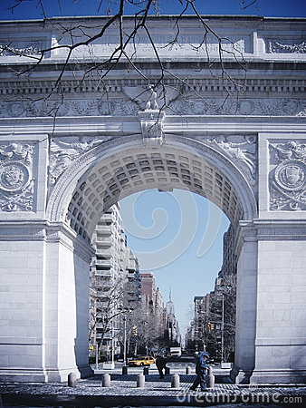 Free NEW YORK - MARCH 9: Washington Square, With Empire State Buildin Stock Photo - 34854460