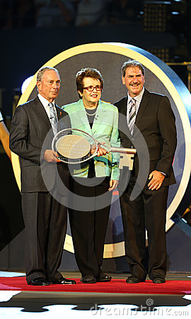 New York Mayor Michael Bloomberg,  Billie Jean King and USTA Chairman, CEO and President Dave Haggerty during US Open 2013 opening Editorial Photography