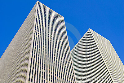 New York modern buildings, isolated on blue sky