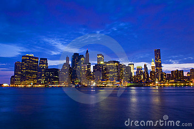 New York night skyline