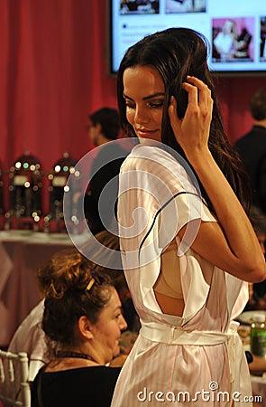 NEW YORK, NY - NOVEMBER 13: Model Barbara Fialho poses at the 2013 Victoria s Secret Fashion Show Editorial Image
