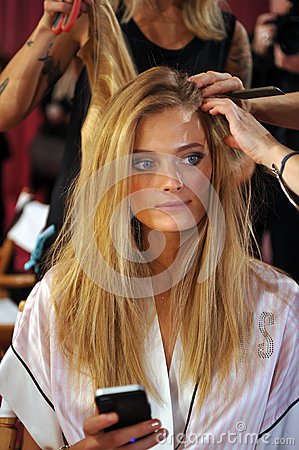 NEW YORK, NY - NOVEMBER 13: Model Constance Jablonski prepares at the 2013 Victoria s Secret Fashion Show Editorial Image