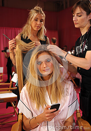 NEW YORK, NY - NOVEMBER 13: Model Constance Jablonski prepares at the 2013 Victoria s Secret Fashion Show Editorial Photo