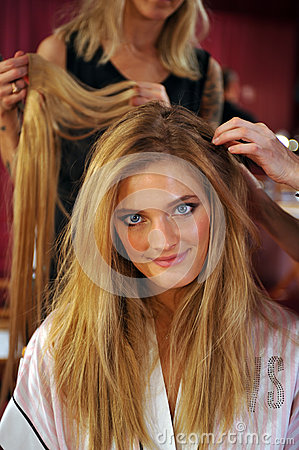 NEW YORK, NY - NOVEMBER 13: Model Constance Jablonski prepares at the 2013 Victoria s Secret Fashion Show Editorial Photography
