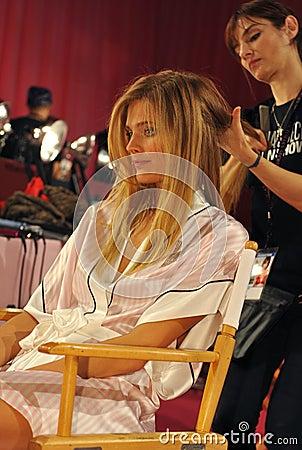 NEW YORK, NY - NOVEMBER 13: Model Constance Jablonski prepares at the 2013 Victoria s Secret Fashion Show Editorial Image