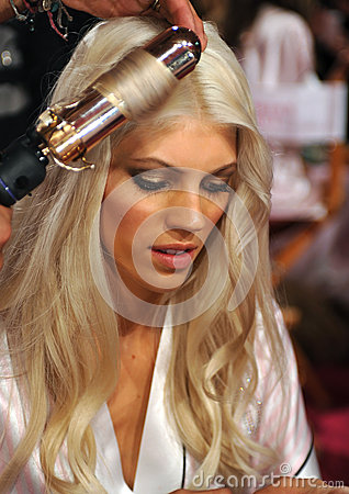 NEW YORK, NY - NOVEMBER 13: Model Devon Windsor prepares at the 2013 Victoria s Secret Fashion Show Editorial Stock Photo
