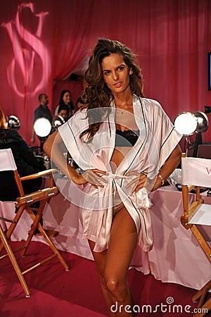 NEW YORK, NY - NOVEMBER 13: Model Izabel Goulart poses at the 2013 Victoria s Secret Fashion Show Editorial Stock Photo