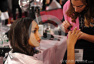 NEW YORK, NY - NOVEMBER 13: Model Jasmine Tookes during nails preparation at the 2013 Victoria s Secret Fashion Show Editorial Image