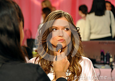 NEW YORK, NY - NOVEMBER 13:  Model Kasia Struss  prepare at the 2013 Victoria s Secret Fashion Show Editorial Photography