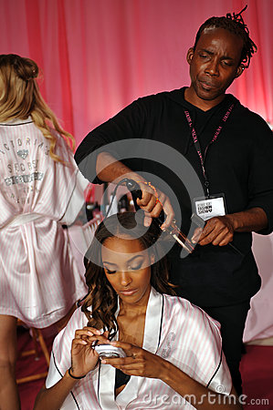 NEW YORK, NY - NOVEMBER 13: Model Maria Borges  prepares at the 2013 Victoria s Secret Fashion Show Editorial Photo