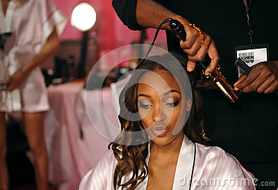 NEW YORK, NY - NOVEMBER 13: Model Maria Borges  prepares at the 2013 Victoria s Secret Fashion Show Editorial Image