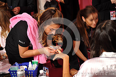 NEW YORK, NY - NOVEMBER 13:A nails preparation process at the 2013 Victoria s Secret Fashion Show Editorial Photo