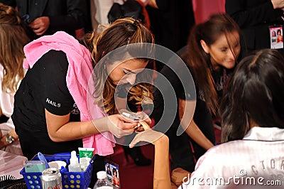 NEW YORK, NY - NOVEMBER 13:A nails preparation process at the 2013 Victoria s Secret Fashion Show Editorial Photo