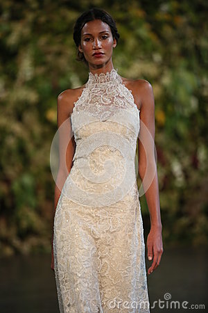 Free NEW YORK, NY - OCTOBER 10: A Model Walks The Runway During The Claire Pettibone Fall 2015 Bridal Collection Show Royalty Free Stock Images - 45500969