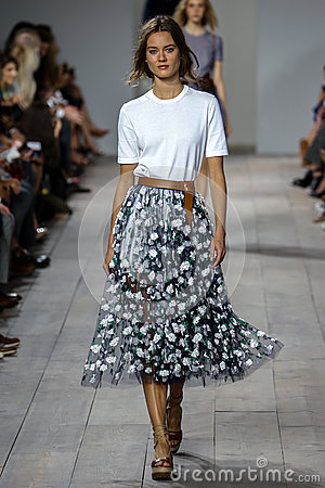 Free NEW YORK, NY - SEPTEMBER 10: A Model Walks The Runway At Michael Kors Spring 2015 Fashion Collection Stock Images - 46534544