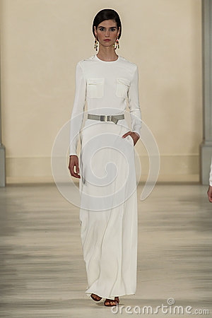 Free NEW YORK, NY - SEPTEMBER 11: A Model Walks The Runway At Ralph Lauren Spring 2015 Fashion Collection Royalty Free Stock Photo - 46529955