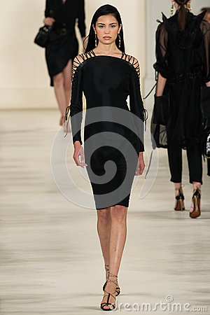 Free NEW YORK, NY - SEPTEMBER 11: A Model Walks The Runway At Ralph Lauren Spring 2015 Fashion Collection Stock Images - 46529974