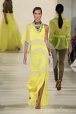 Free NEW YORK, NY - SEPTEMBER 11: A Model Walks The Runway At Ralph Lauren Spring 2015 Fashion Collection Stock Photo - 46530060
