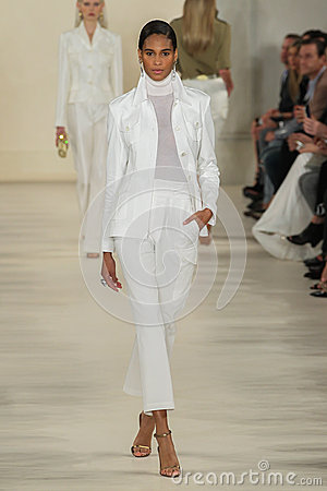 Free NEW YORK, NY - SEPTEMBER 11: A Model Walks The Runway At Ralph Lauren Spring 2015 Fashion Collection Stock Photos - 46534223