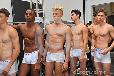 NEW YORK, NY - SEPTEMBER 06: Models pose backstage at the Parke & Ronen Spring 2014 fashion show Editorial Photo