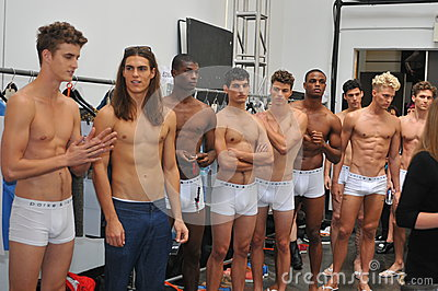 NEW YORK, NY - SEPTEMBER 06: Models pose backstage at the Parke & Ronen Spring 2014 fashion show Editorial Stock Photo