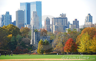 New York Skyline with fall foliage