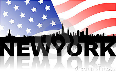 New york skyline with flag and text