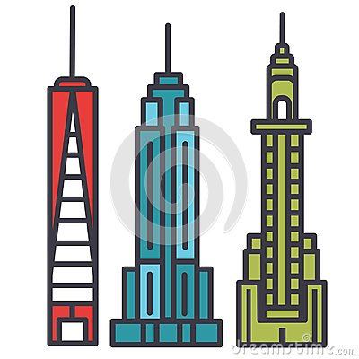New york skyline flat line illustration, concept vector isolated icon Vector Illustration