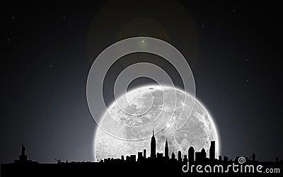 New york skyline night with moon