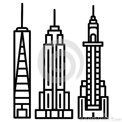 New york skyline vector line icon, sign, illustration on background, editable strokes Vector Illustration
