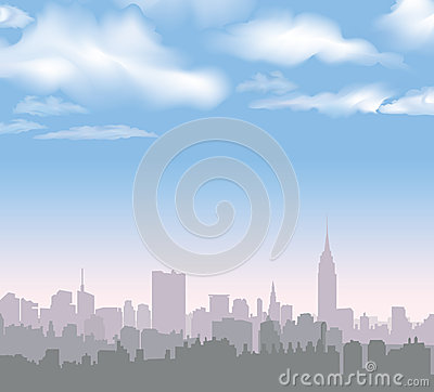 Free New York Skyline. Vector USA Landscape. Cityscape In The Early Morning. Stock Photography - 36134452