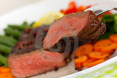 New York Steak- meat on Green Beans,Carrot,Pepper