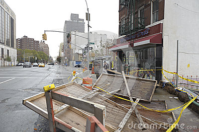 New york street after storm Sandy Editorial Photography