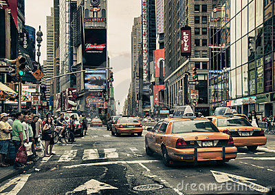 New York Streets and Taxis Editorial Stock Photo
