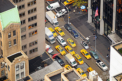 New York Taxi cabs aerial view
