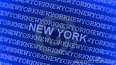 New York typed on blue screen