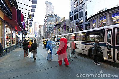 Elmo & Cookie Monster on 42nd Street Manhattan New-York Editorial Stock Photo