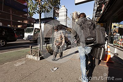 9th Avenue Manhattan New-York Pedestrians and Traffic Editorial Stock Photo