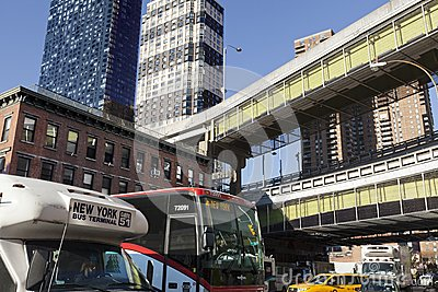 NYC Bus Traffic by Port Authority Bus Terminal Editorial Photo