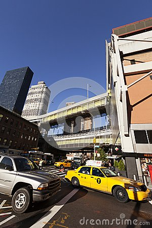 NYC Taxi Traffic by Port Authority Bus Terminal Editorial Photo