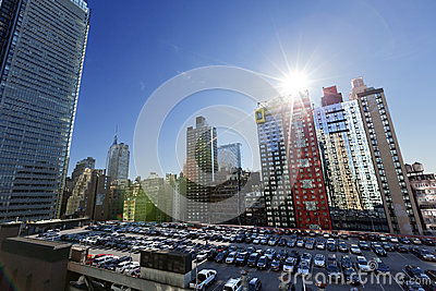 Port Authority Rooftop Parking and Skyscrapers Manhattan New Yor Editorial Photography