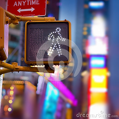 Free New York Walk Sign Stock Photo - 35328560