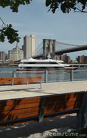 Yacht on the East River, New York USA Editorial Photography