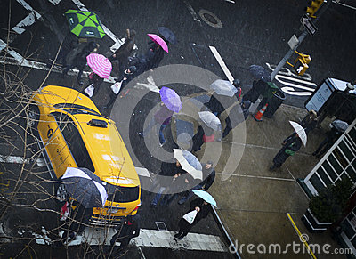 Rainy Intersection Editorial Photography