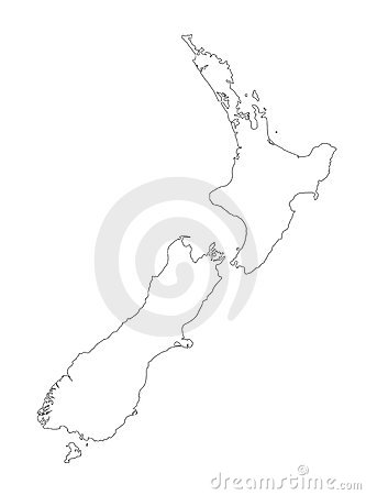 Free New Zealand Black Outline Map Vector Illustration Royalty Free Stock Photos - 18211828