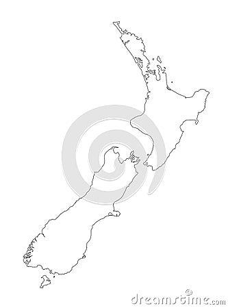 New Zealand Black Outline Map Vector Illustration