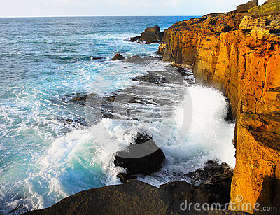 New Zealand Coastline Sunset, Crashing Waves Cliffs